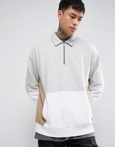 Oversize-свитшот со вставками с воротником и молнией на груди ASOS - Серый