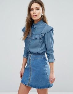 Рубашка с оборками New Look - Синий