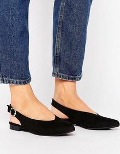 Туфли из искусственной замши с ремешком через пятку New Look - Черный