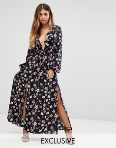 Платье макси с V-образным вырезом и рукавами-колокол Boohoo - Темно-синий