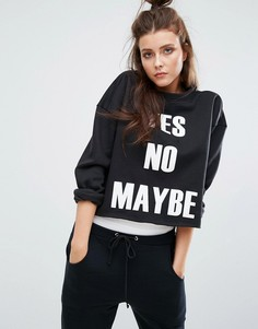 Свитшот Boohoo Yes No Maybe - Черный
