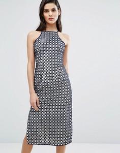 Кружевное платье миди с разрезом сбоку The 8th Sign - Темно-синий
