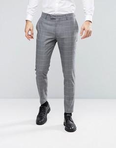Узкие брюки-премиум в клетку Jack & Jones - Серый