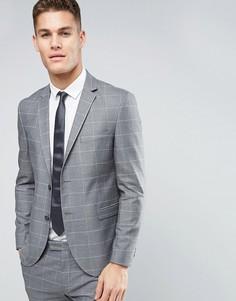 Узкий пиджак-премиум в клетку Jack & Jones - Серый