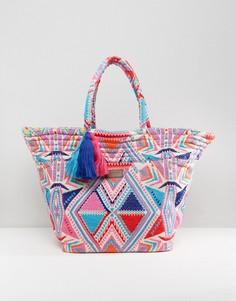 Большая пляжная сумка в неоновых цветах Seafolly - Мульти