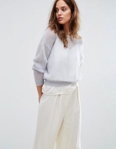Трикотажный пуловер с длинными рукавами Selected Femme - Синий