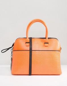 Сумка-тоут из искусственной змеиной кожи Pauls Boutique - Оранжевый