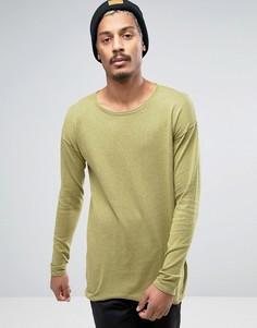 Зеленый длинный джемпер из хлопка с овальным вырезом ASOS - Зеленый
