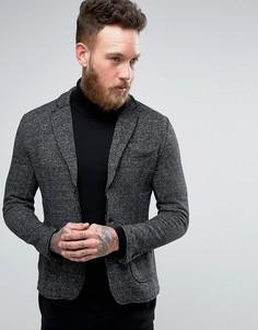 Блейзер из плотного трикотажа с накладным карманом Jack & Jones Vintage - Черный