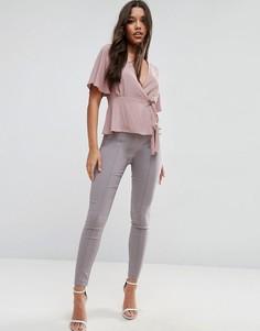 Облегающие брюки с завышенной талией ASOS - Розовый