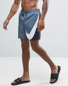 Черные шорты для плавания с большим логотипом Nike Breach - Черный