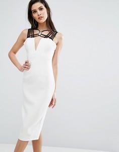 Платье миди с контрастной отделкой на вороте The 8th Sign - Белый