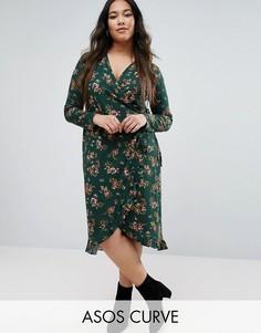 Зеленое чайное платье с запахом, цветочным принтом и оборкой ASOS CURVE - Мульти