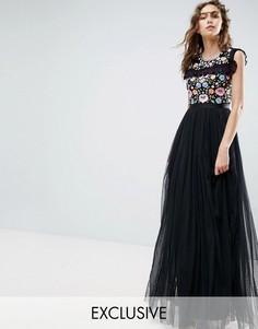 Кружевное платье макси с вышивкой и расклешенными рукавами Needle and Thread - Черный