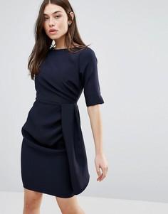Платье-футляр с рукавами 3/4 и складками Vesper - Темно-синий