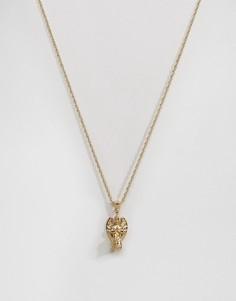 Золотистое ожерелье с подвеской-херувимом Mister - Золотой