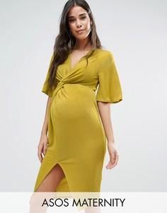 Платье-кимоно с узелком спереди ASOS Maternity - Желтый