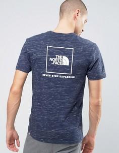 Темно-синяя меланжевая футболка с логотипом на спине The North Face Red Box - Темно-синий