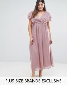 Шифоновое платье макси с оборками Truly You - Розовый