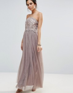 Платье-бандо макси с кружевом Little Mistress - Серый