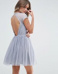 Платье мини для выпускного из кружева и тюля ASOS PREMIUM - Серый