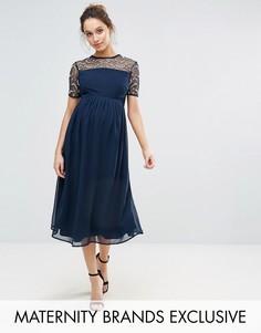 Декорированное платье миди с шифоновой юбкой Maya Maternity - Темно-синий