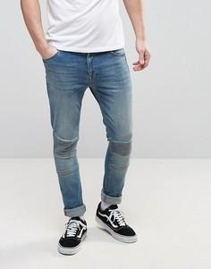 Выбеленные супероблегающие джинсы со вставками в байкерском стиле ASOS - Синий