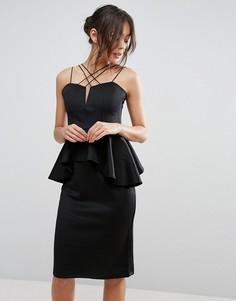 Платье миди с баской и множеством бретелек Rare - Черный