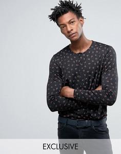 Черная узкая рубашка без воротника с розами Reclaimed Vintage Inspired X Romeo & Juliet - Черный