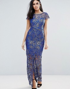 Платье макси с кружевом Paperdolls - Синий