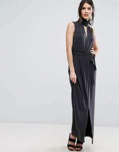 Платье макси с открытой спиной Selected Femme Holly - Черный