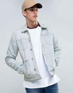 Светлая джинсовая куртка с рваной отделкой New Look - Синий
