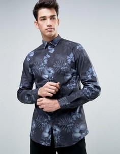 Строгая рубашка с длинными рукавами и принтом Jack & Jones Premium - Черный