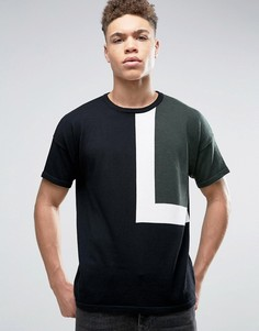 Свободная трикотажная футболка колор блок ASOS - Черный