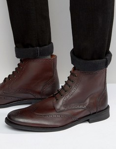 Ботинки-броги из кожи бордового цвета Lambretta - Красный