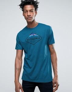 Синяя меланжевая футболка с логотипом и горой Фицрой Patagonia - Синий