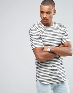 Длинная футболка в фактурную полоску с асимметричным подолом Only & Sons - Белый