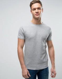 Обтягивающая футболка из вафельного трикотажа Bellfield - Серый