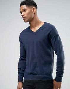 Хлопковый джемпер с V-образным вырезом Sisley - Темно-синий