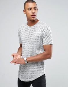 Длинная футболка с принтом и асимметричным подолом Only & Sons - Серый