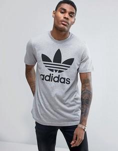 Серая футболка с логотипом-трилистником adidas Originals BK7466 - Серый