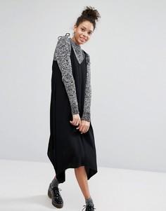 Платье миди с асимметричным подолом и завязками на плечах Monki - Черный