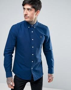 Синяя оксфордская рубашка зауженного кроя Farah - Синий