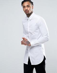 Супердлинная эластичная рубашка слим ASOS - Белый