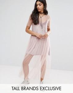 Платье из прозрачной сетки Glamorous Tall - Розовый