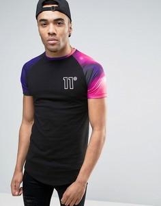Черная обтягивающая футболка с принтом на рукавах 11 Degrees - Черный