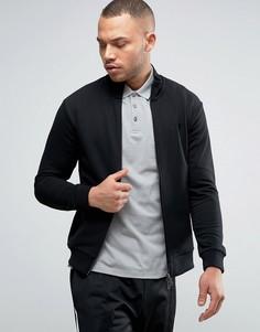 Черная трикотажная куртка классического кроя на молнии Armani Jeans - Черный