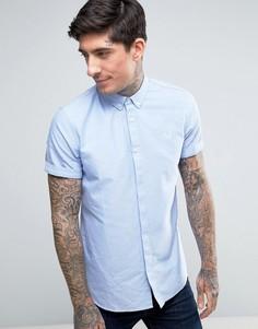 Голубая оксфордская рубашка с короткими рукавами Fred Perry - Синий