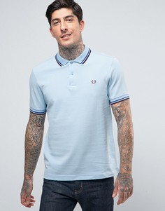 Голубая футболка-поло узкого кроя из пике с контрастной отделкой Fred Perry - Синий