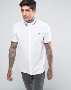 Белая рубашка с короткими рукавами и окантовкой Fred Perry - Белый